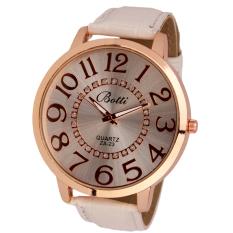 Womens Fashion Numerals Golden Dial Leather Analog Quartz Watch (White)