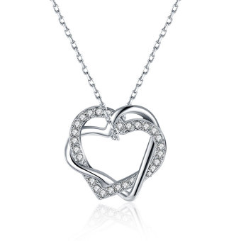 Women's Fashion Rose Gold Plated Crystal Zircon Romantic Double Heart Pendant Necklace For Gifts - Intl