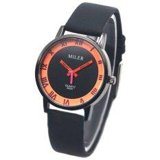 Women's Fashion Round Orange Circles Black Dial Roman Numerals Faux Leather Band Casual Wrist Watch