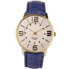 Womens Ladies Fashion Numerals Gold Dial Leather Analog Quartz Watch (Blue)