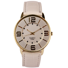 Womens Ladies Fashion Numerals Gold Dial Leather Analog Quartz Watch (White)