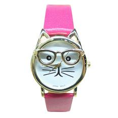 Women's Men's Glasses Cat Faux Leather Analog Quartz Watch (Pink)