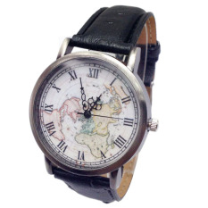 Women's Vintage Big Dial Roman Style Buckle Quartz World Map Wrist Watch Black (Intl)