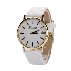 Womens Watches Grid Unisex Leather Quartz Dress Wrist Watch White (Intl)
