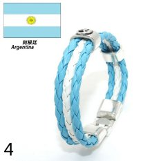 World Cup FIFA Soccer Fans National Flag Color Mens Womens Leather Bracelet Argentina - Intl