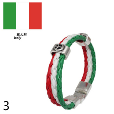 World Cup FIFA Soccer Fans National Flag Color Mens Womens Leather Bracelet Italy - Intl