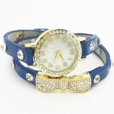 Wrap Around Bracelet Watch Bowknot Crystal Synthetic Leather Chain Women's Quartz Wrist Watches (Blue) - Intl - Intl