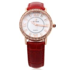 WWOOR 8807 Female Quartz Watch Luminous Artificial Diamonds Water Resistance Wristwatch (Red)