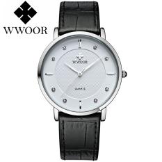 Wwoor 8811 (White) / Jam Tali Kulit (Black) - Klasik Tipis / Jam Tangan Wwoor Wanita Atau Pria (Unisex)