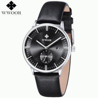 WWOOR Luxury Brand Men Genuine Leather Strap Sports Watches Men's Quartz Hour Date Clock Male Fashion Casual Wrist Watch Blue relogio - intl