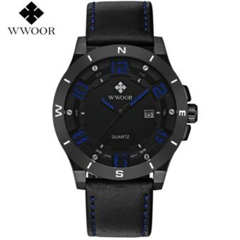 WWOOR Luxury Brand Watch Men Military Sports Watches Men's Quartz Analog 3D Face Hour Clock Male Leather Belt table Wrist Watch - intl