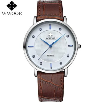 WWOOR Top Brand Men Watch Ultra Thin Waterproof Quartz Analog Clock Man Leather Wristwatch Men Casual Sports Watches relogio masculino 8011