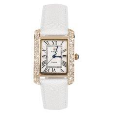 Allwin WWOOR Elegant Crystal Women Square Quartz Wrist Watch Office Lady Watch Gold and White (Intl)