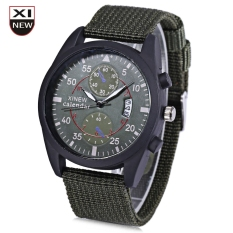Xinew 2247G Men Quartz Watch Luminous Decorative Sub-dial Date Display Nylon Strap Wristwatch (GREEN)
