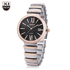 Xinew 6697 Women Quartz Watch Date Display Radial Pattern Dial Trapezoid Band Wristwatch (Black)