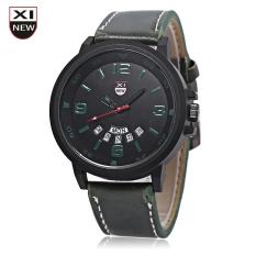 Xinew 7728 Men Quartz Watch Day Date Dispaly Big Dial Leather Strap Wristwatch (GREEN)