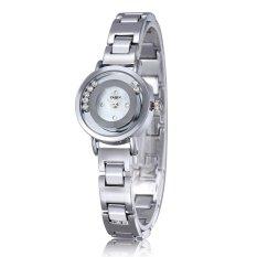 YAQIN Bracelet Watch Women Fashion Casual Rhinestones Quartz Watches Rose Gold Watches-silver