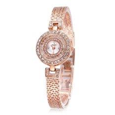 YAQIN Fashion Bracelet Dress Women Luxury Watch Quartz Full Rhinestone Watches Wristwatches-Rose Gold
