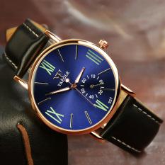 Yazole Analog Leather Band Quartz Wrist Watch (Blue + Black)