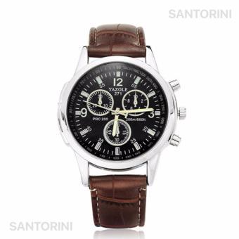 Yazole Jam Tangan Pria Quartz Kulit Analog Fashion Men Leather Wrist Watch  - Brown Strap Black ea7f177a46