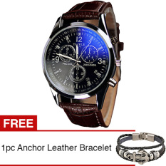 Yazole Jam Tangan Pria Quartz Men Leather Watch - Brown - Gold + Gratis 1pc Anchor Steel Leather Men Bracelet