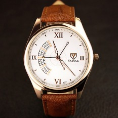 YAZOLE Men 3 Seconds Luminous Casual Wrist Watch (White + Brown)