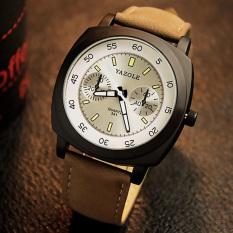 YAZOLE Men Sports Luminous Big Dial Quartz Wrist Watch (White + Brown)