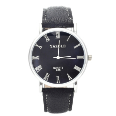 Yazole Men's Stainless Steel Leather Quartz Wrist Watch (Black + Black) - Intl