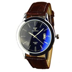 Yazole Pria Analog Jam Tangan Kulit Tahan Air WaterproofCalendarMen Leather Wrist Quartz Watch