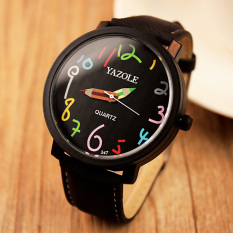 YAZOLE Unisex Business Quartz Leather Wrist Watch (Black)