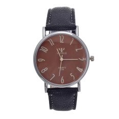 Yazole UNISEX Date Leather Stainless Steel Military Sport Quartz Wrist Watch (Brown + Black) - Intl