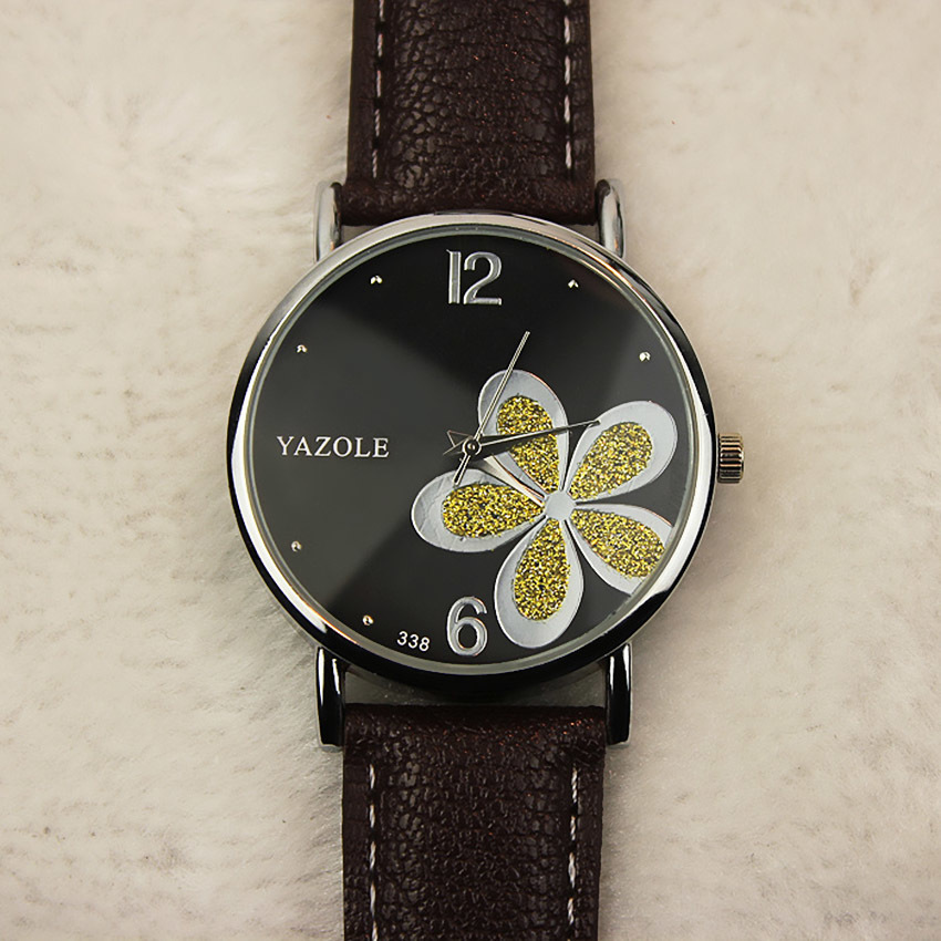 YAZOLE klasik Band iseng bisnis Fashion wanita kulit kuarsa jam tangan yzl313h-b - hitam