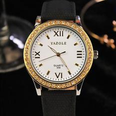 YAZOLE Women Leather Quartz Wrist Watch (White + Black)