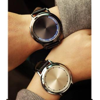 YBC 1 Pair Couple Watch Leather Touch Screen LED Watches with Blue Light - intl