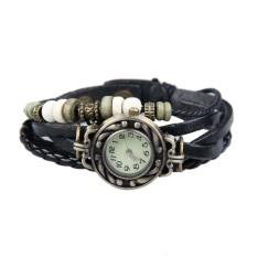 YBC Women Retro Bracelet Wrist Watch With Braid Leather Watchband Black