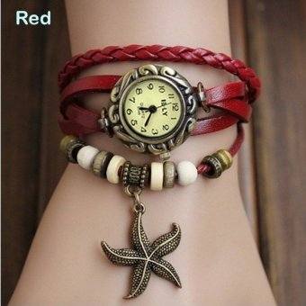 YBC Women Watch Leather Starfish Wristwatch Retro Bronze Watch Red- intl