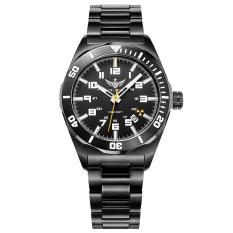 YELANG V1014.1 Mens Tritium Gas Blue Luminous Waterproof Genuine Steel Strap Business Diving Watch (Intl)