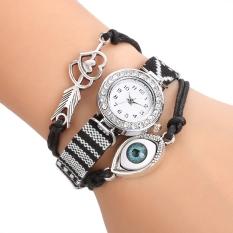 Yidabo Women's Handmade Friendship Bracelet Watch Rhinestone Round Dial Quartz Wristwatch (Black) - Intl
