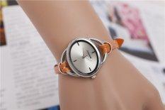Yika Fashion Women Dress Leather Strap Roman Numerals Quartz Watches (Brown) (Intl)