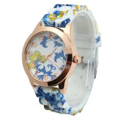 Yika Flower Chic Fashion Crystal Jelly Gel Silicon Girl Women's Quartz Wrist Watch (Blue + Yellow) (Intl)