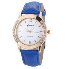 Yika Geneva Fashion Women Classic Diamond Watches Analog Leather Quartz Wrist Watch (Light Blue) (Intl)