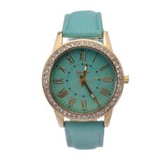 Yika Ladies Women Girl Geneva Leatherwear Quartz Golden Crystal Stone Rome Wrist Watch (Mint Green) (Intl)