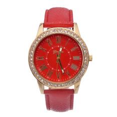Yika Ladies Women Girl Geneva Leatherwear Quartz Golden Crystal Stone Rome Wrist Watch (Red) (Intl)
