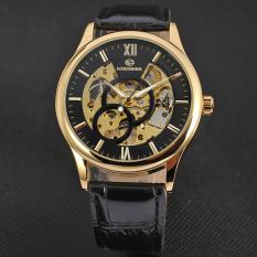 Yika Men's Mechanical Automatic Self-Winding Date Leather Wrist Watch (Black + Gold)