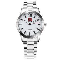 Yika Unisex Round Steel Case Faux Leather Quartz Analog Wrist Watch (White)