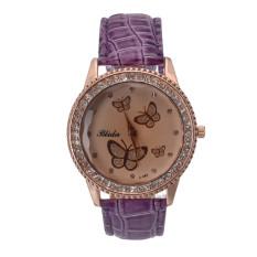 Yika Women Lady Golden Band Butterfly Bracelet Watches Quartz Rhinestone Wrist Watch (Purple)