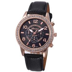 Yika Women Rhinestone Geneva Leather Analog Quartz Wrist Watch (Black)