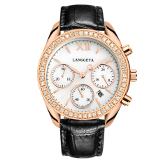 YJJZB LANGGEYA New Personalized Fashion Big Dial Watch Six-pin Single Calendar Quartz Female Form Diamond-studded Leather