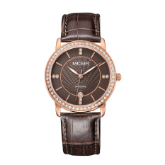 YJJZB MEGIR Authentic Fashion Belts Female Table Quartz Watch Miss Han Ban Slim Personality (Rosegold)