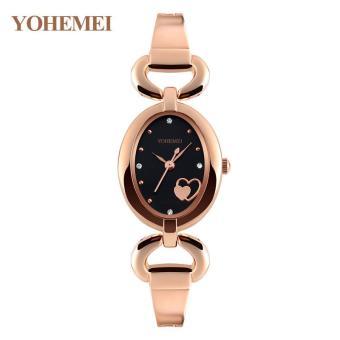 YOHEMEI 0162 Watches for Womens Quartz Watch Oval Dial Bracelet Casual Gold Ladies Watch Clock - Black - intl